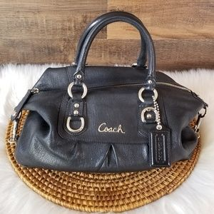 Coach Ashley Leather Satchel Bag Purse Black